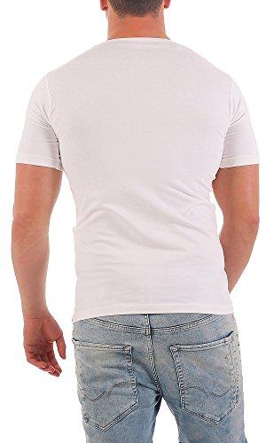 Gennadi Hoppe Herren T-Shirt V-Ausschnitt Slim Fit Freizeit V-Neck Kurzarm Weiß