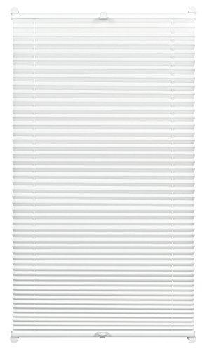 Gardinia Plissee zum Klemmen, Blickdichtes Faltrollo, Alle Montage-Teile inklusive, EASYFIX Plissee verspannt mit zwei Bedienschienen, Weiß, 80 x 130 cm - Weiße Holz-jalousien