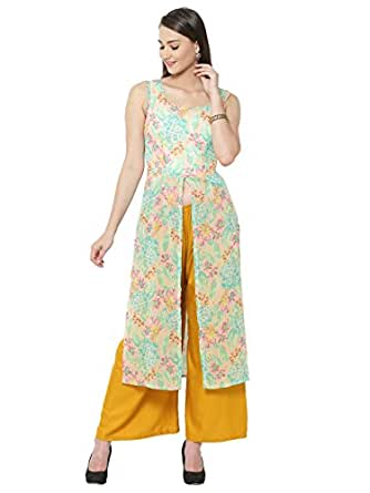 The Gud Look Multi Printed Front Slit Maxi Top