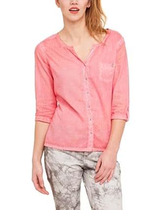 Comma CI Damen Bluse Comfort Fit 88.304.19.5730 BLUSE 3/4 ARM, Gr. 44 (XXL), Pink (0072 neon coral)
