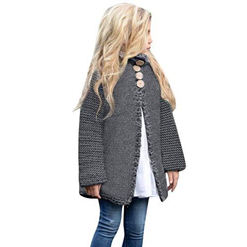 JUSTSELL Langarmshirts Mäntel für Kind Herbst Winter, Mädchen Einfarbig Outwear Strickwaren Mantel Knopfleiste Coat Warm Jacket Cardigan
