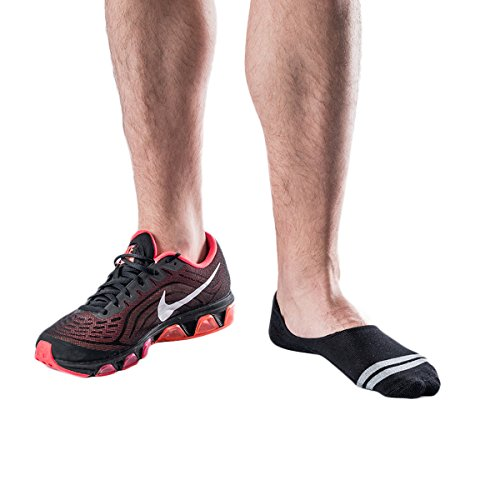 STOMPER JOE - 3 x Men's Bamboo Fitness and Athletic No Show Socks - Anti Odour - Invisible Low Cut - Perfect Sport Sock with extra padding and anti slip to help prevent blisters!