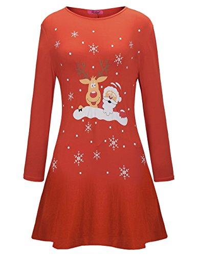 Fiocchi di neve femminili di Ruiyige Bella vestito di Natale della Santa Renna di Renna Rosso