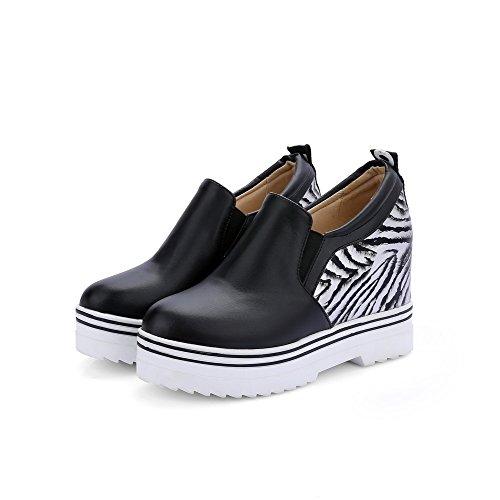 VogueZone009 Femme Tire Rond à Talon Haut Pu Cuir Couleurs Mélangées Chaussures Légeres Noir