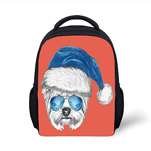 Kids School Backpack Yorkie,Terrier with a Blue Santa Hat and Mirror Aviator Glasses Fun Hand Drawn Animal Decorative,Coral White Blue Plain Bookbag Travel Daypack