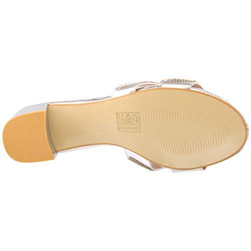 Unze Nouveaux Femmes Femme 'Twofold' Diamante Embellie Slip on Open Toe Mi Low Block Heel Occasion Evening Party Festival Sandales d'été Chaussures Taille 3-8 Argent