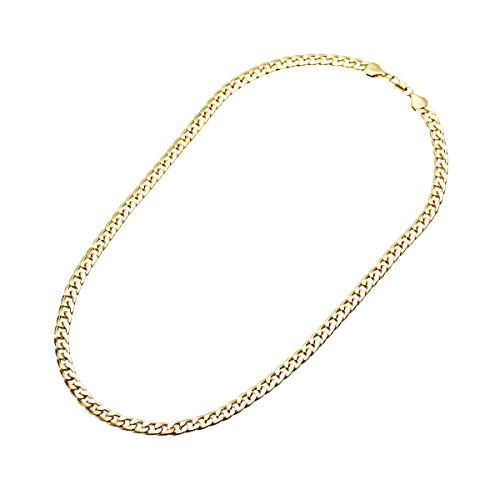 Unisex 7mm Width Gold Plated Chain Link Necklace 24 1EloRei