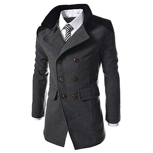 Moserian Men's Jacket Warm Winter Trench Long Outwear Button Smart Overcoat Medium Gray