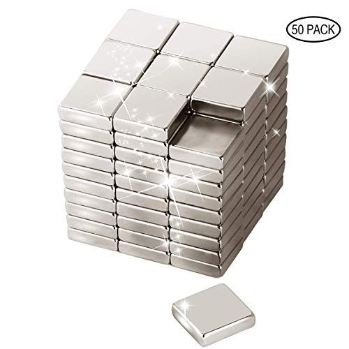 Wukong 50 Stücke Neodym Super Magnete Würfel m10 x 10 x 3 mm, Sehr Starke Magnete für Glas-Magnetboards, Magnettafel, Whiteboard, Tafel, Pinnwand, Kühlschrank, und vieles mehr - Quadratische Magnete