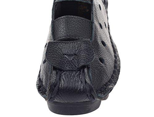 Vogstyle Damen Weinlese Handgemachtes Echtes Leder Ebene Schuhe Schwarz-Art 2