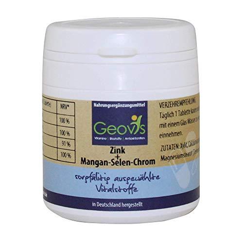 Geovis | Zink-Mangan-Selen-Chrom | 90 Tabletten mit je 10mg Zink + Mangan + Selen + Chrom | Die Spurenelemente für einen gesunden Stoffwechsel & Immunsystem | Vegan | Nahrungsergänzung