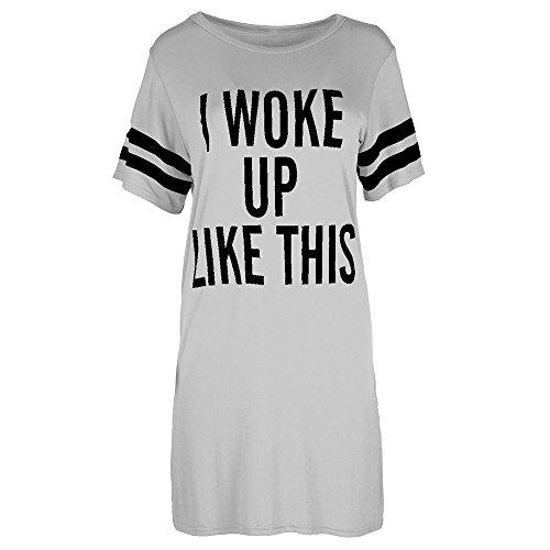 Damen Oversized T-Shirt Ich wachte Wie Diese Top Baggy Tunika Nacht Kleid