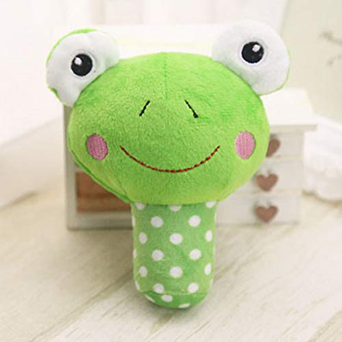 Zantec giocattolo squeaker della peluche del giocattolo resistente mastice a forma di animale sveglio con l'altoparlante per il piccolo giocattolo medio dei gatti dei cani rana verde