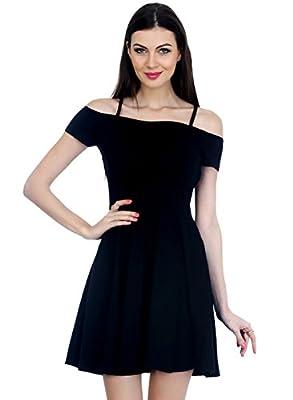 FabAlley Strappy Shoulders Skater Dress - Black