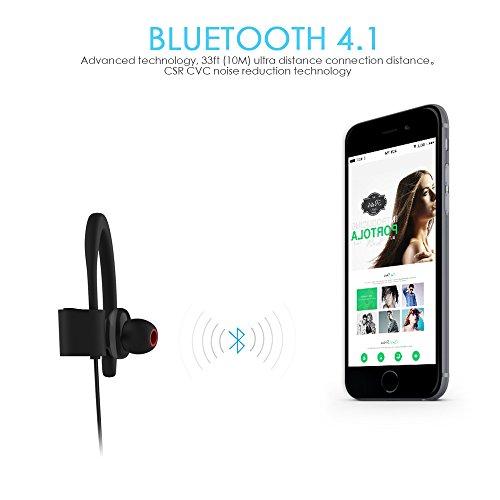 Bluetooth Kopfhörer, ALIENSX Kabellose Bluetooth 4.1 Sport Stereo In Ear Ohrhörer, Schweiß Resistant, CVC 6.0 Rauschunterdrückung mit Mikrofon, Sichern Fit, für Fitness/Workout/Jogging/Training usw (Schwarz) - 4