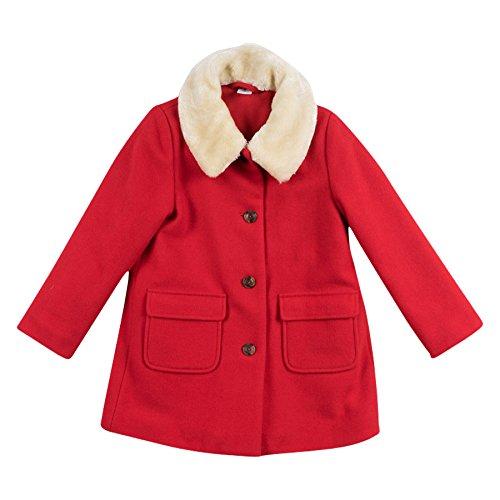 PETIT BATEAU-cappotto bambina in panno di lana rosso (10 anni)
