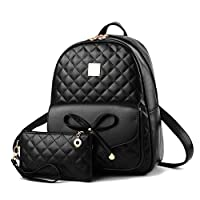 2-PCS Women Mini Backpack PU Leather Ladies Fashion Backpacks Cute Backpack Purse with Cellphone Clutch Mini Bowknot Rucksack for iPad Shoulder Bag for School Girls