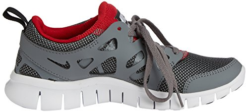 Nike - Free Run 2 Junior (Gs), Scarpe da corsa Unisex – Bambini Grigio (Wolf Grey/Black-Gym Red-White 035)