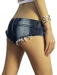 Wgwioo Shorts Femmes Filles Tassel Rivets Zipper Party Night Club Bar Dance Sexy Frayed Mini Jeans Shorts Hot Pants
