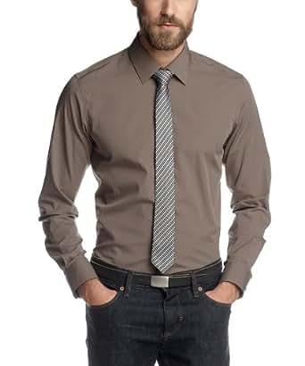 ESPRIT Collection Herren Businesshemd Slim Fit 082EO2F001, Gr. 41/42 (L), Braun (256 Country Khaki)
