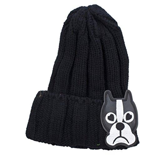 LUX Zubehör Schwarz Sad Puppy Neuheit Patch Beanie Hat