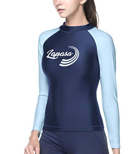 LAPASA Damen UV Sonnenschutz UPF 50+ Basic Skins Langarm Rash Guard Crew Shirt MEHRWEG L27