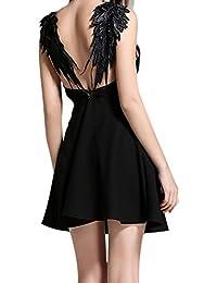 Dxlta Vestidos Mujer - Vestido sin espalda Alas de Ángel de encaje Correa  de espagueti de 0a4ce2d6eb0e
