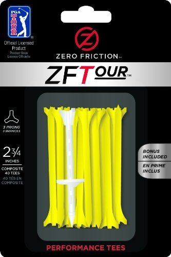 Zero Friction Tour 3-prong Golf Tees (2-3/4inch, Yellow, Pack of 40) by Zero Friction -