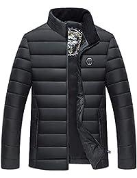 Doudoune en Coton Homme Hiver Chaud Manteau Plus Épais AMUSTER Veste à Capuche Automne Slim Fit Col Montant Cotton Manteaux Top Blouse