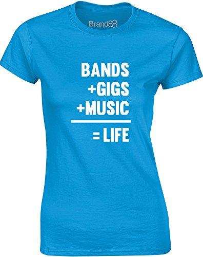 Brand88 - Bands + Gigs + Music = Life, Gedruckt Frauen T-Shirt Türkis/Weiß