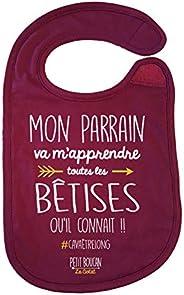 """Petit Boucan""""mon parrain m'apprendra toutes les betises"""" - bavoir bébé -100% coton doux - doublé"""