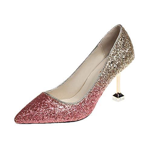 XSY Frauen Hochzeit Schuhe Spitz High Heels Kleid Schuhe Gradient Pumps Glitter Damen Schuhe,Pink,6.5 -