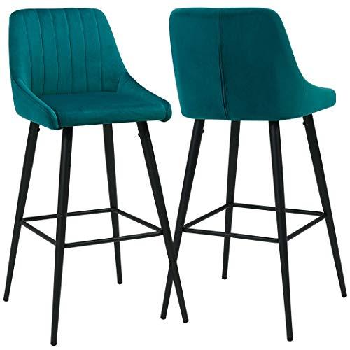 Duhome 2X Barhocker Barstuhl aus Stoff Samt Petrol Grün Blau Gestell aus Metall Tresenhocker Bar Sessel gut gepolstert mit Lehne Farbauswahl 5162