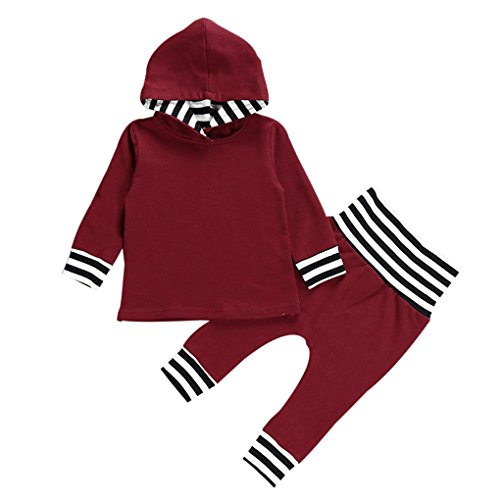 JYJM 2pcs Toddler Infant Baby Boy Girl Striped Hooded Tops+Pants Outfits Clothes Set (Größe:24 Monate, Wein) (Set Pant Hooded)