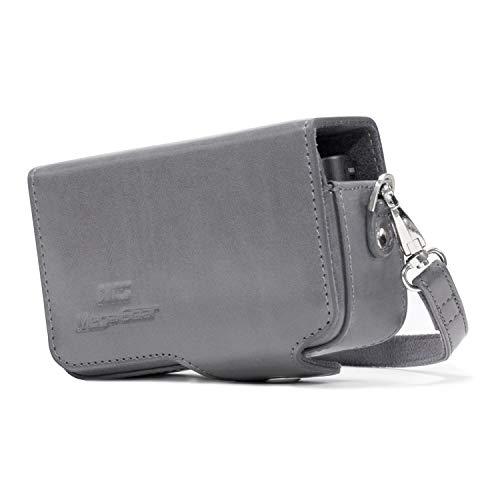 MegaGear Ever Ready Leder Kameratasche mit Trageriemen für Sony Cyber-Shot DSC-RX100 V, DSC-RX100 IV, DSC-RX100 III, DSC-RX100 II grau (Cybershot Trageriemen Sony)