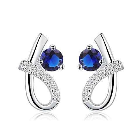 Sunifsnow femmes Mode Sapphire Six-like rond Earringsblue