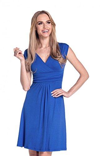 Glamour Empire Donna A-Line Senza Maniche Vestito Estivo Abito IT 40-50 256 Blu Royal