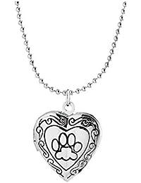 Adisaer Collar Mujeren Corazón Medallón Remolque Memoria Al Abierto Photo Imagener Amuleto Plata/Oro/Rose Oro Huellas De Perro Vendimia para Hija