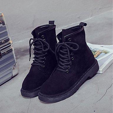 Rtry Femmes Chaussures Suede En Cuir Chute Bottes De Combat Talon Plat Bout Rond Bottes À Lacets Pour Casual Rougeur Noir Rose Us8 / Eu39 / Uk6 / Cn39
