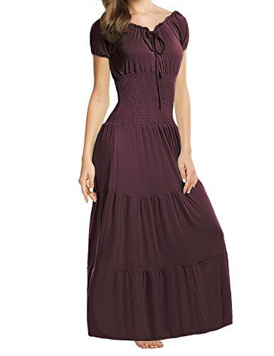sance Maxikleid Falten Empire Kleid Stretch Tailliert Kurzarm Herbst (Renaissance Dame)