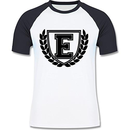 Anfangsbuchstaben - E Collegestyle - zweifarbiges Baseballshirt für Männer  Weiß/Navy Blau