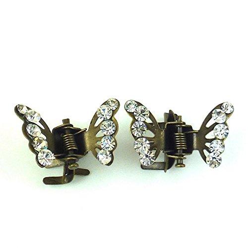 rougecaramel - Accessoires cheveux - Mini pince crabe papillon en strass 2pcs - bronze