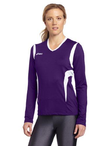 Asics Damen Mintonette Long Sleeve Tee, Damen, Violett/Weiß, Large (Spandex Asics Volleyball)