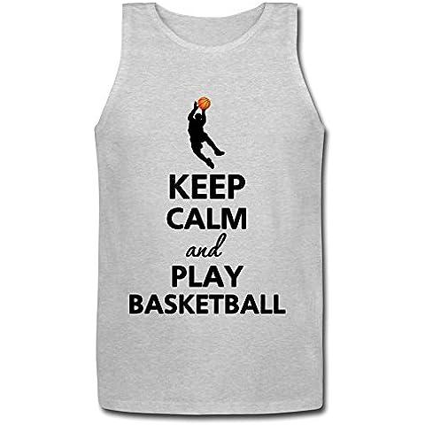 xj-cool Keep Calm And Play balón de baloncesto de hombre Jersey sin mangas para hombre gris