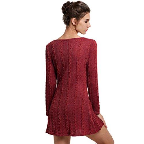 Sunnywill Eleganter Lange Ärmel Crewneck Pullover Slim Casual gestrickte Pullover Minikleid Sommerkleid Partei Kleid für Mädchen Damen Rot
