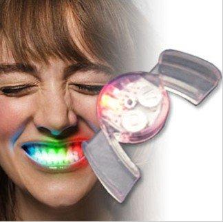 LED Zähne Beleuchtung Mund Disko Raver MEHRFARBIG Silikon Mouth Licht Gebiss ROT BLAU GELB GRÜN
