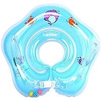 Flotador Cuello Bebe - WinCret Ajustable Inflable Doble Airbag Flotador Cuello para 1-18 Meses Bebé