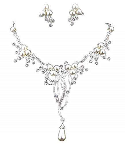 Sarahmi Brautschmuck Hochzeit Schmuckset Set Kette Collier Ohrringe Lange Ohrstecker Silber versilbert Anhänger Perlen weiß und Kristall klar