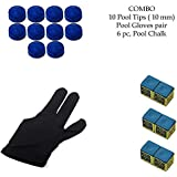 Snooker, Pool Cue Stick Combo, Gloves, 6 Chalk And 10 Pieces Leather Cue Tip (10mm) By Unik