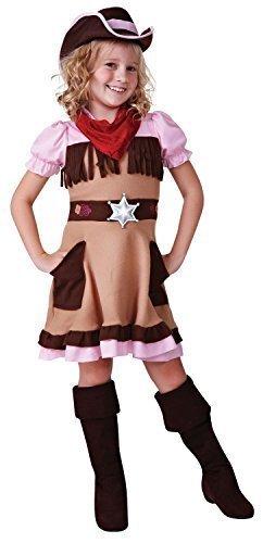 Mädchen Braune Pink Cowgirl Wilder Westen West Büchertag Kostüm Kleid Outfit 4-12 jahre - 7-9 (Outfit Cowgirl Kinder)